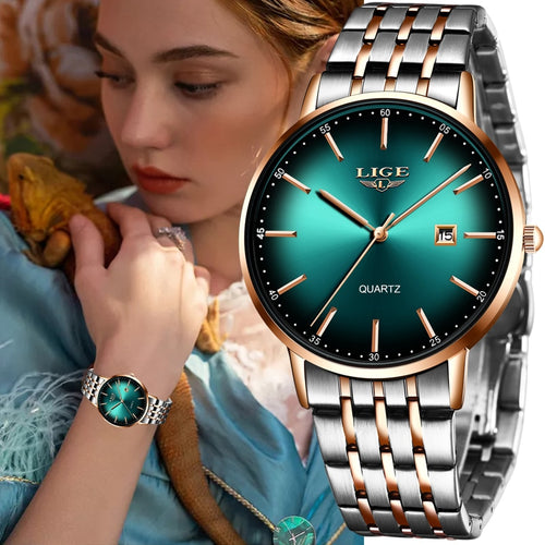 Luxury Womens Bracelet Watch 5 Colours Stainless Steel and Waterproof with Quality Quarts Movement