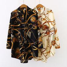 Load image into Gallery viewer, Up to Plus size Oversized Women Blouse Shirts in Chain Print 2 Colours Sizes 8-24 UK