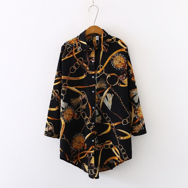 Up to Plus size Oversized Women Blouse Shirts in Chain Print 2 Colours Sizes 8-24 UK