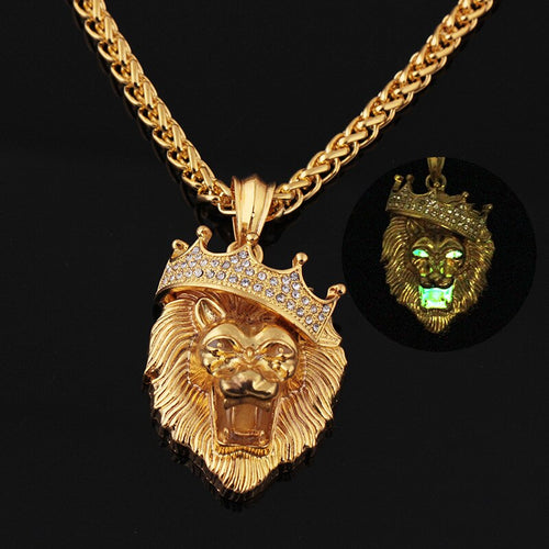 Crystal Crown Lion Pendant with Chain Luminous Features to Lion for Lovers of Hip Hop Jewellery