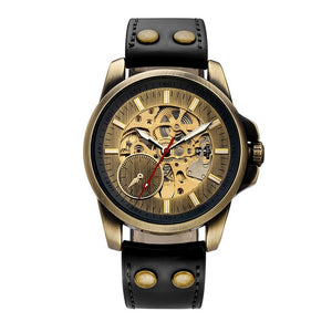 Mens Vintage Skeleton Sports Style Watch with Black or Brown Strap