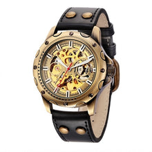 Load image into Gallery viewer, Mens Vintage Skeleton Sports Style Watch with Black or Brown Strap