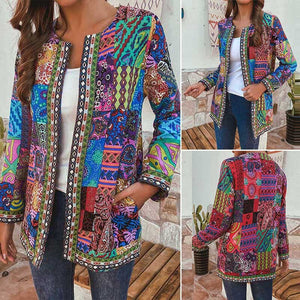 Women's Ethnic Patchwork Print Lightweight Jacket in 2 Colours and Size 8-24 Uk