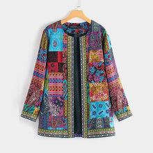 Load image into Gallery viewer, Women's Ethnic Patchwork Print Lightweight Jacket in 2 Colours and Size 8-24 Uk