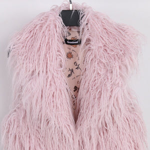 Plus Sizes Soft Faux Fur Pink Sleeveless Jacket Sizes S - 7XL Uk