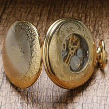 Load image into Gallery viewer, Antique Style Skeleton Dial Mechanical Pocket Fob Watch With Chain