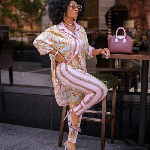Womens 2 Piece Leisure Pants Suit in Stunning African Style Pink Print  Sizes 8-16 Uk