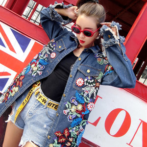Oversize Vintage Floral Embroidery Denim Jeans Jacket Freyed with Beading