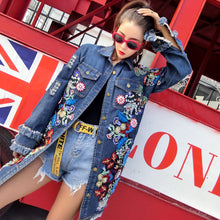 Load image into Gallery viewer, Oversize Vintage Floral Embroidery Denim Jeans Jacket Freyed with Beading