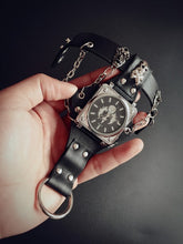 Load image into Gallery viewer, Mens Individual Bracelet Wrist Watch with Chains and Finger Loop in Steam Punk Style