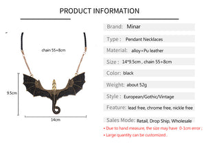Gothic Black Gold Antique Style Pterosaur Dragon Pendant Necklace