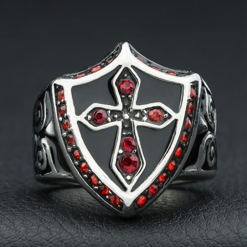 Hand Made Knight's Templar Ring with Blood Red Stones in all Sizes