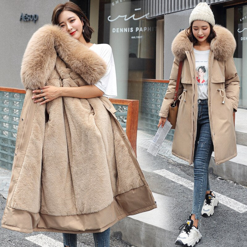 Plus Size Winter Hooded Fur Trim Fleece Lined Parka Coat Sizes M to Plus Size 6XL in 5 Colours