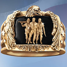 Load image into Gallery viewer, Men's Gold Eagle Soldier Ring Inscribed inside with 'Pride and Brotherhood' All Sizes