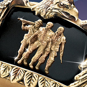 Men's Gold Eagle Soldier Ring Inscribed inside with 'Pride and Brotherhood' All Sizes