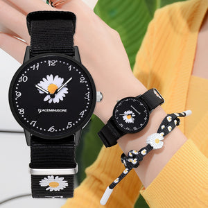 Pretty Daisy Watch and Matching Wristband Bracelet Handcrafted in 6 Styles