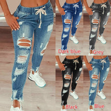 Load image into Gallery viewer, Womens Distressed Denim Jeans Ripped and Stretch with Drawstring Ties 4 Colours Sizes 8-22 Uk