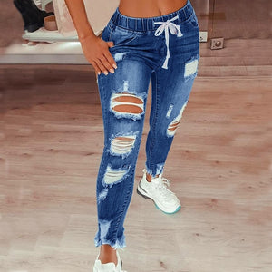 Womens Distressed Denim Jeans Ripped and Stretch with Drawstring Ties 4 Colours Sizes 8-22 Uk
