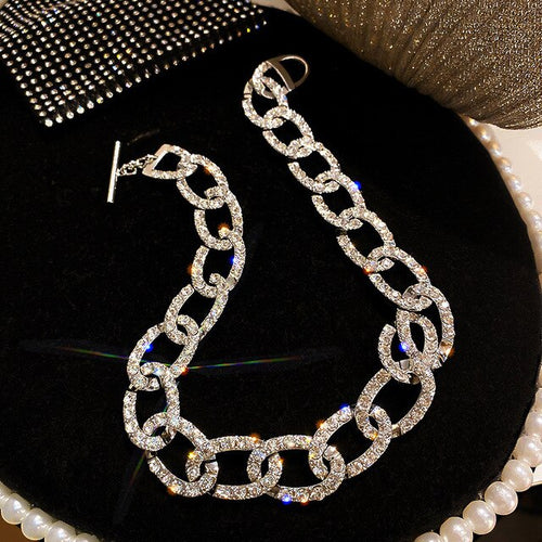 Womens Crystal Link Chain Statement Necklace Choker Style