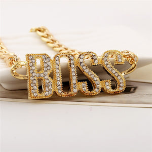 Fabulous Crystal Boss Pendant Chain Necklace in Gold or Silver for Men or Women