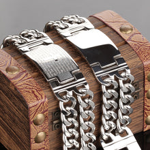 Load image into Gallery viewer, Mens Lord's Prayer Cross 316L Steel Bracelet With or Without Cross & Prayer