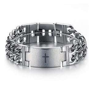 Mens Lord's Prayer Cross 316L Steel Bracelet With or Without Cross & Prayer