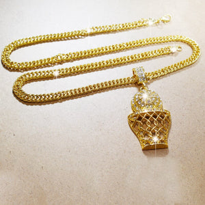 Unisex Iced Out Bling CZ Crystal Hip Hop Pendants on a 24 Inch Link Chain