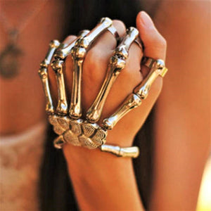 Uniquely Hand Crafted Bracelet in Gothic Steampunk Skeleton Style Over Fingers in Gold or Silver