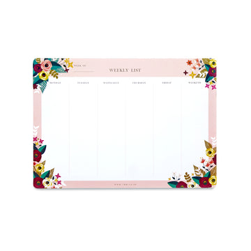 Weekly Deskpad (Blossoms) - 7mm - Fine Paper Stationery