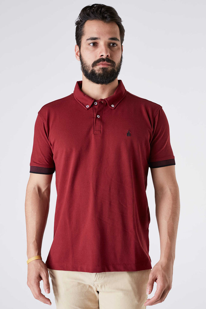 Camisa Polo Masculina Piquet Bordô