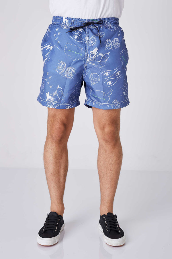 Shorts Beach Masculino Estampado Burning Man Marinho
