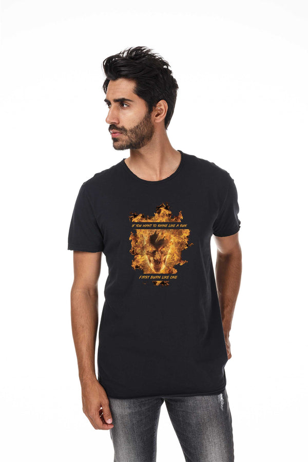 Camiseta Masculina Estampada Preta Like The Sun