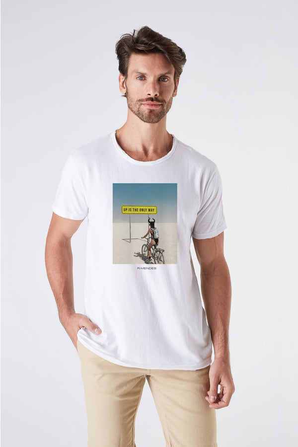 Camiseta Masculina Estampada Branca Up Is The Only