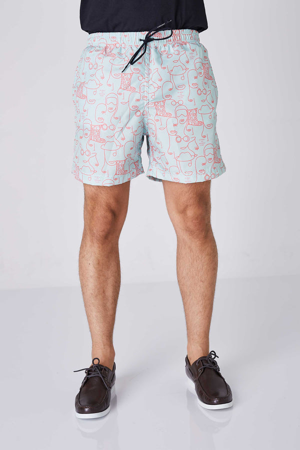 Shorts Beach Masculino Estampado Face