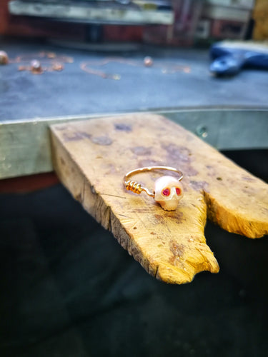 Infinte Love - Natural Pink Pearl carved skull, Pure 14Kt Solid Red Gold Ring, Pink Diamonds