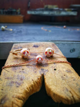 Infinte Love - Natural Pink Pearl carved skull, Pure 14Kt Solid Red Gold braclet, Pink Diamonds