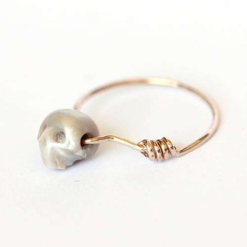 Intersection Moment - Natural Silver Pearl, 14K Solid White Gold Ring