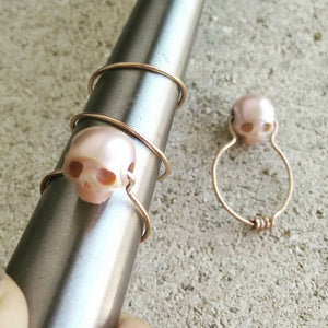 Pink Pearl, Red Gold Ring, Without Diamonds