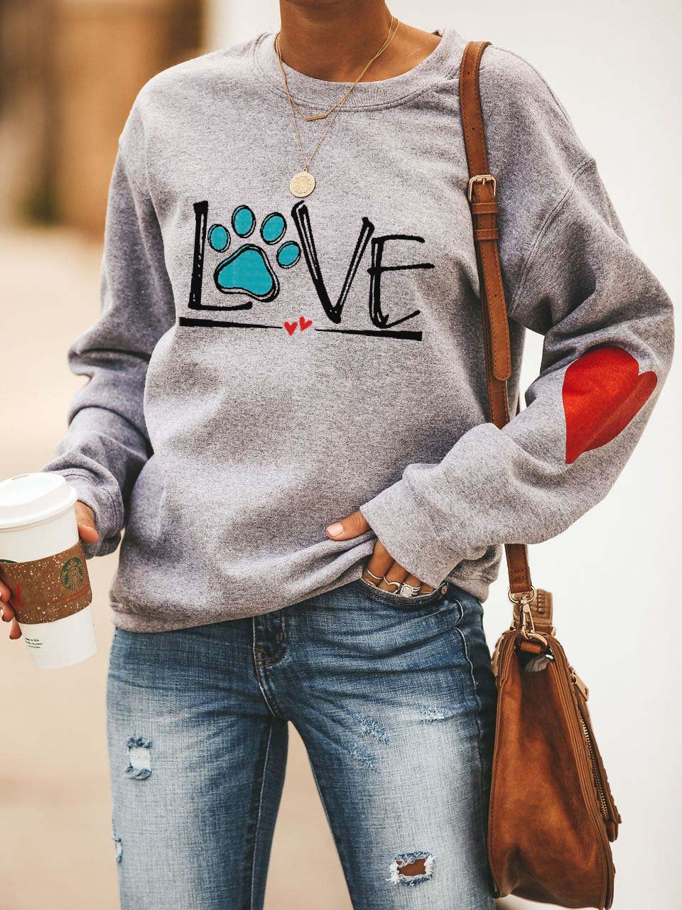 Dog Love Heart Design Sweatshirt