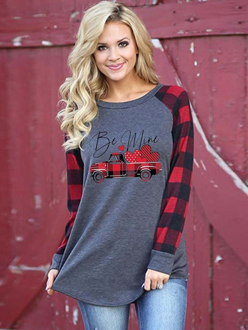 Be Mine Plaid Splicing Long Sleeve T-Shirt