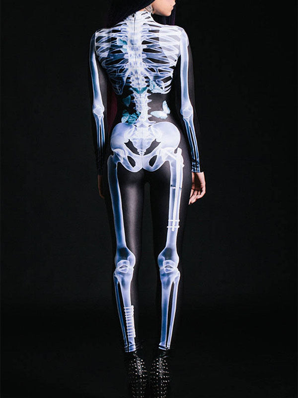 Ladies Halloween Skeleton Jumpsuit
