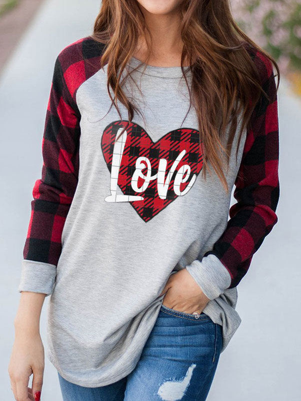 Women's Plaid Heart LOVE Valentine's T-Shirt