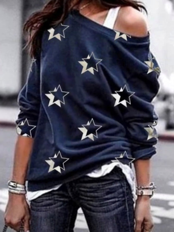 Women's five-pointed star print long-sleeved sweatshirt