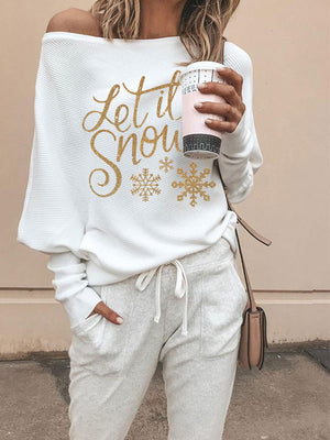 Women's Let it snow gold print strapless long sleeve top