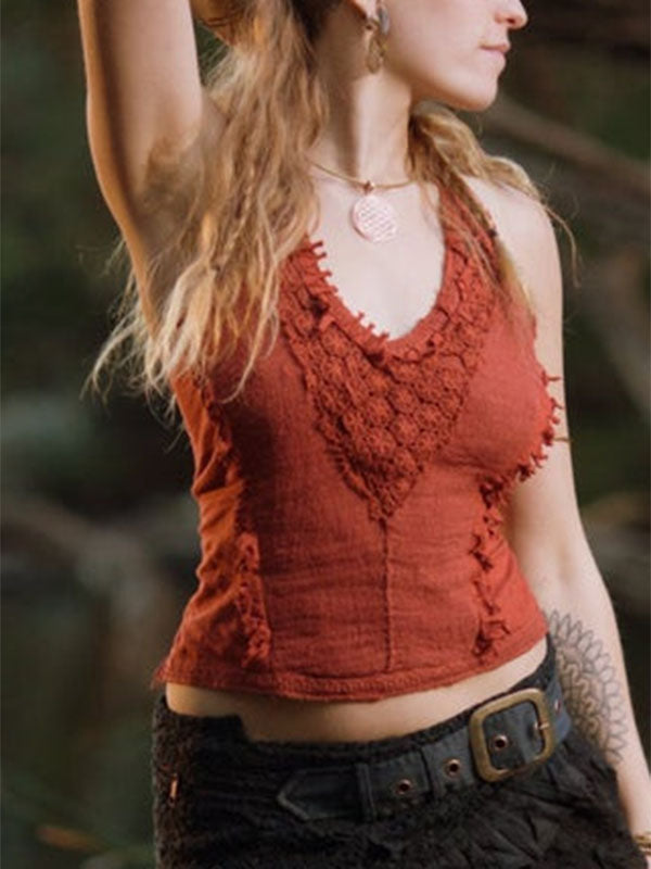 Women's Sexy Vintage Lace V-Neck Top