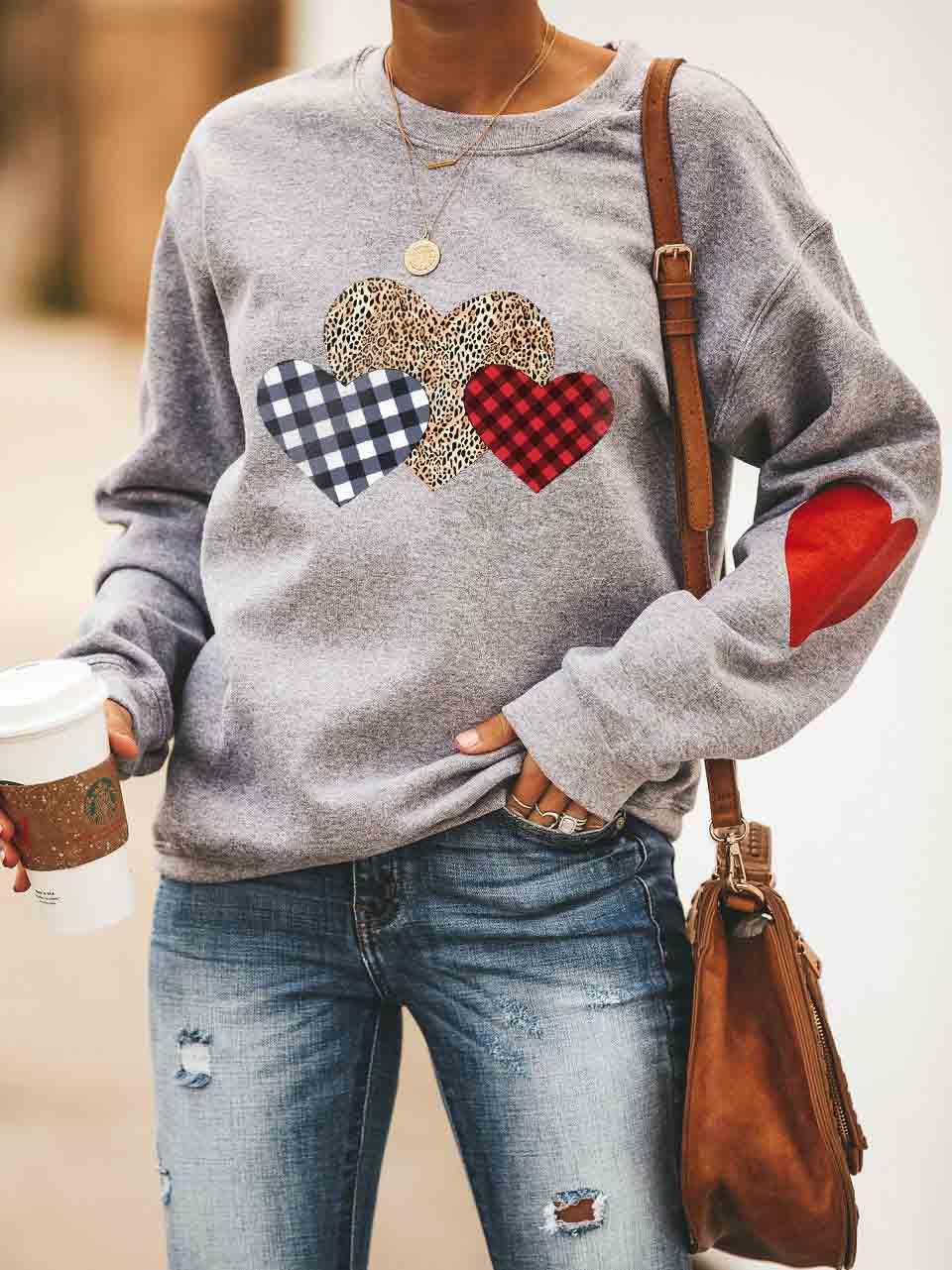 Women's Leopard Plaid Heart Valentine's Day  Sweatshirt