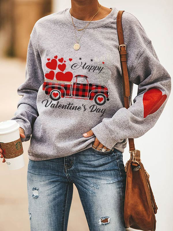 HAPPY Valentine's Day Plaid Love Truck Print Sweatshirt