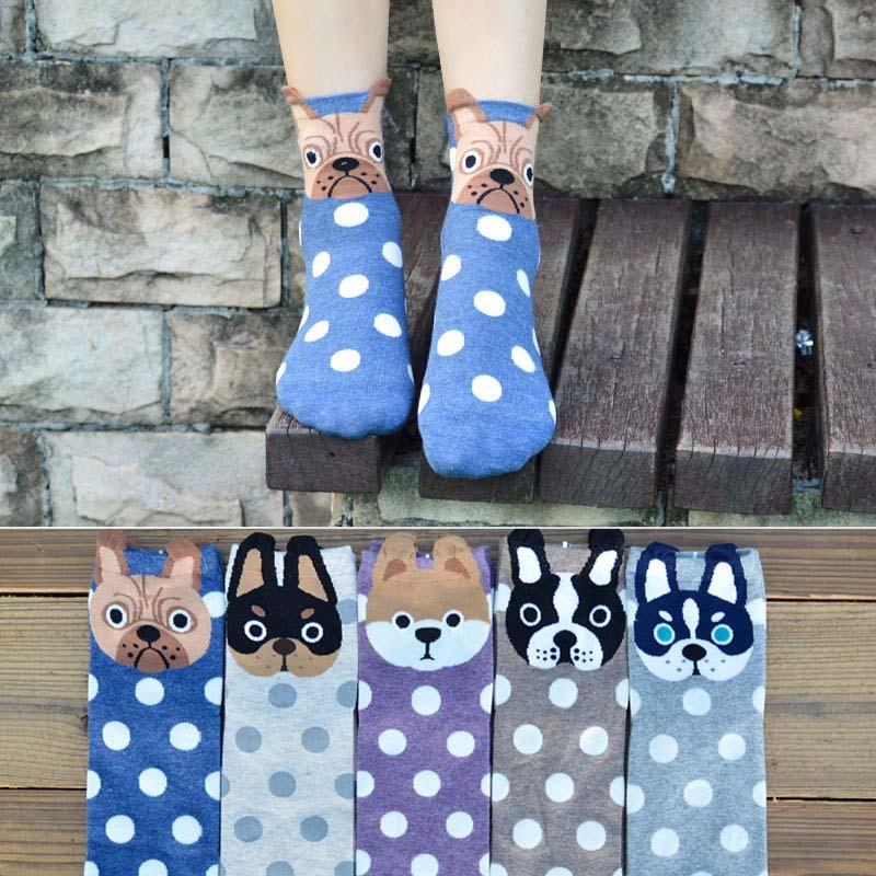 Ladies Dot Cartoon Pet Dog Print Socks