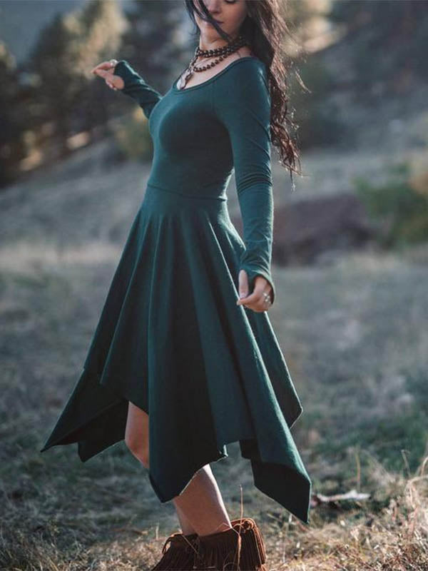 Women's Long Sleeve Irregular Hem Dress