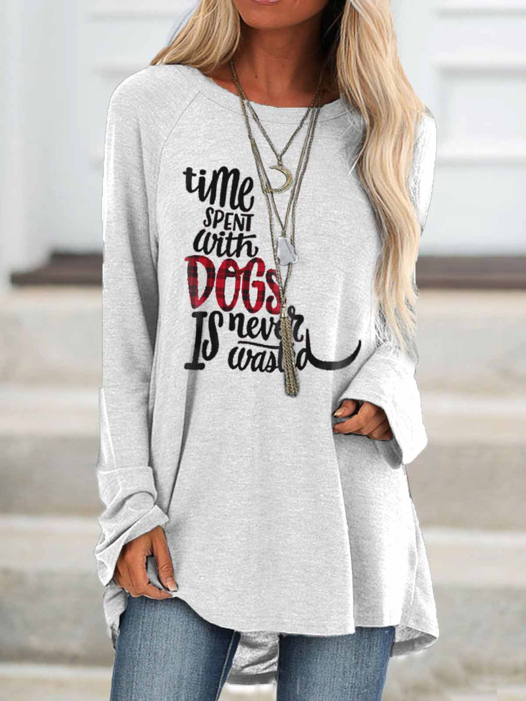 Women's Time Spent With Dogs Is Never Wasted Pure Long Shirt